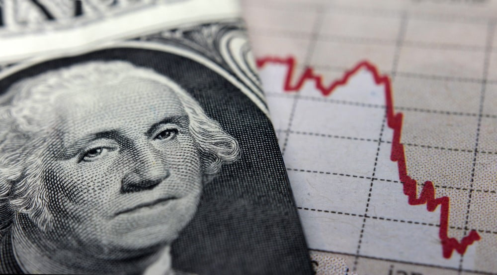 close up photo of a dollar bill and a graph